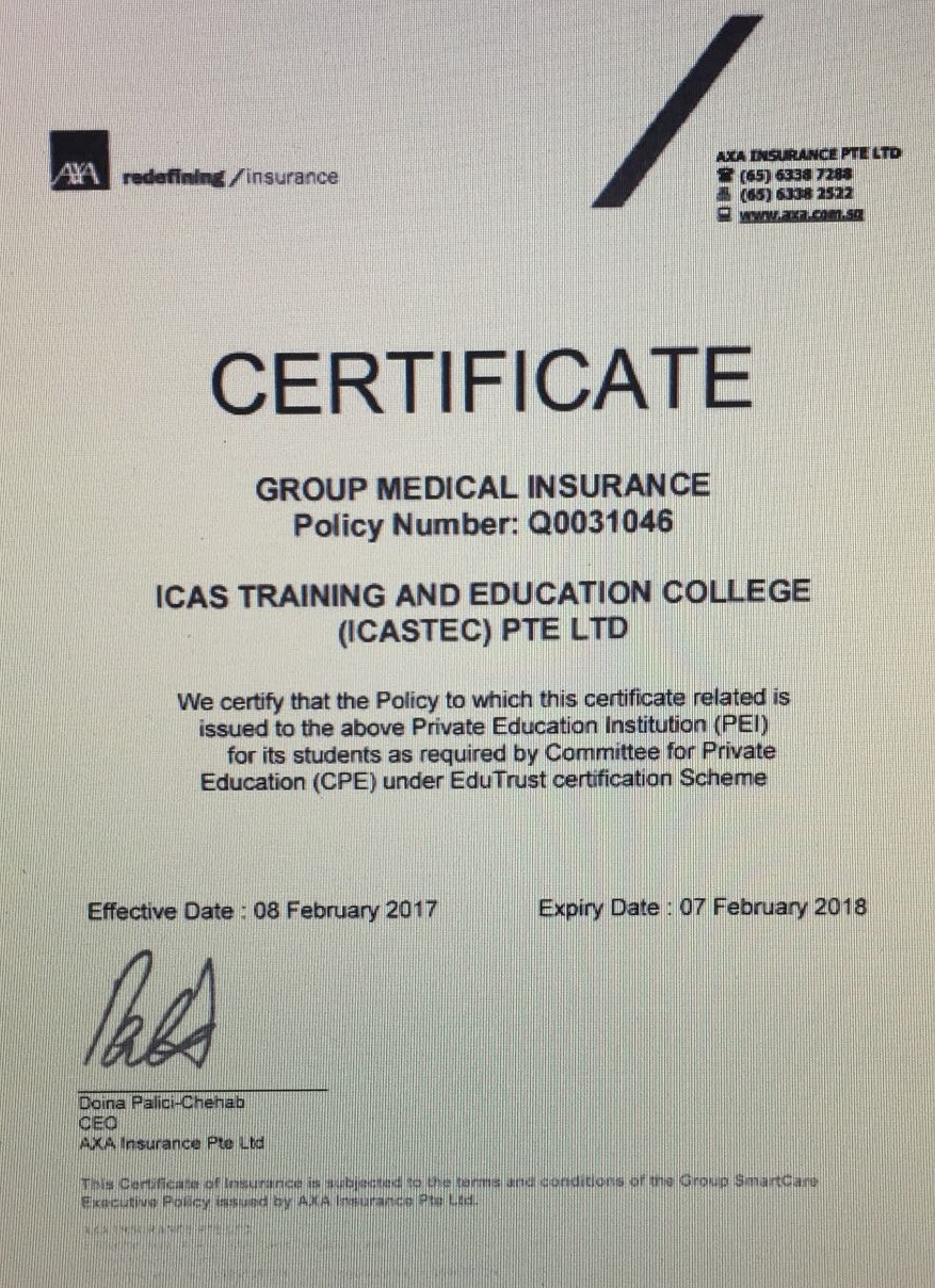 Medical Ins Cert 2017